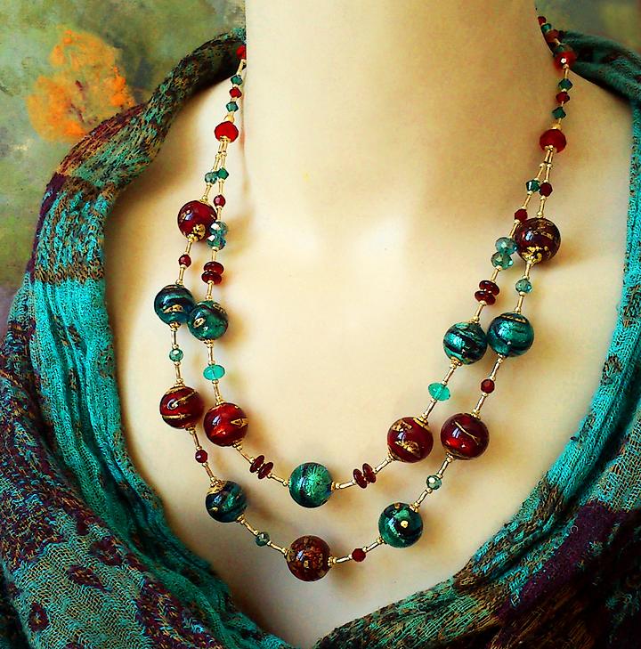 Collier 2 rangs Verre de Murano authentique Rouge rubis et Vert émeraude Feuille d'Or 24 kt / Plaqué Or