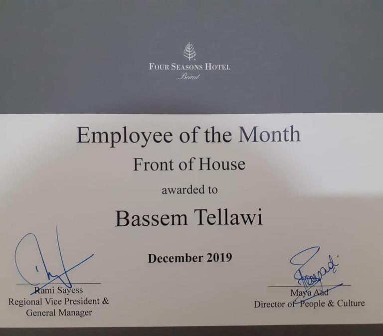 Bassem Tellawi : employé du mois (Four season hotel)