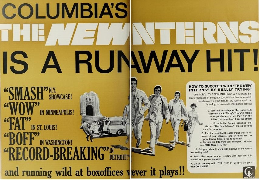 THE NEW INTERNS BOX OFFICE USA 1964