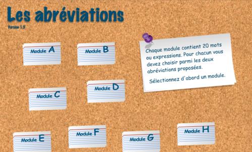 Les abréviations, module E. (Apprendre en s'amusant)