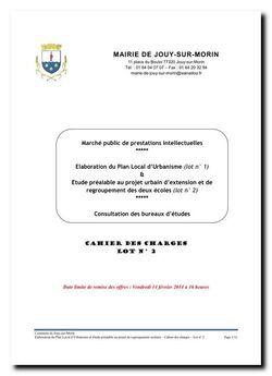 PLAN LOCAL D'URBANISME - CONSULTATION DES BUREAUX D'ETUDES