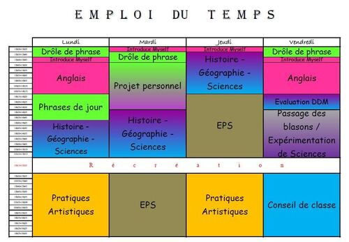 Emploi du temps CM2 2012-2013