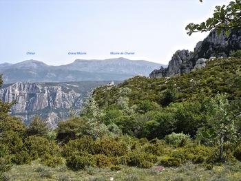 A l'arrivée au Clot de la Glacière, vue vers le Nord et les premiers sommets des Alpes de Haute-Provence