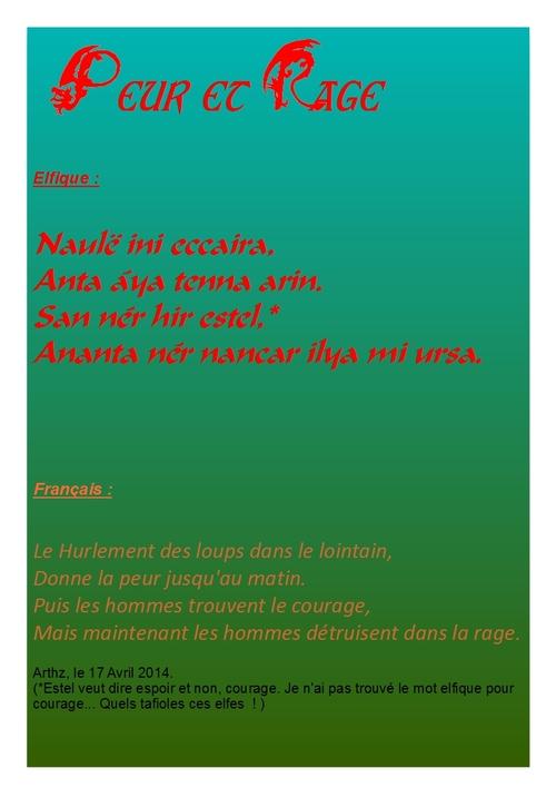 Poèmes en Elfique 2 :  Peur et Rage