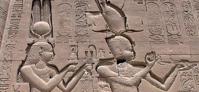 Cléopâtre et Césarion à Denderah