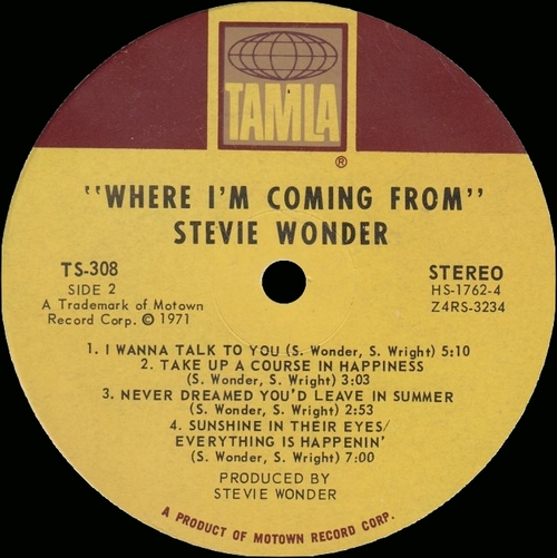 """Stevie Wonder : Album """" Where I'm Coming From """" Tamla Records TS 308 [ US ]"""