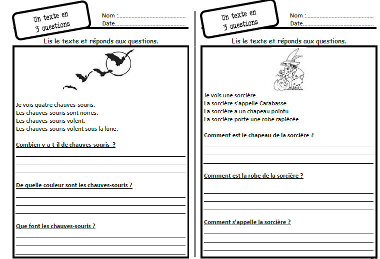 question texte ce1