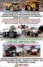 Tombereaux TEREX chez VOLVO:  nouvelle frasque industrielle.