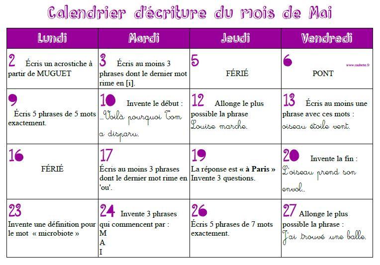 Calendrier d'écriture du mois de mai 2016 - CE1