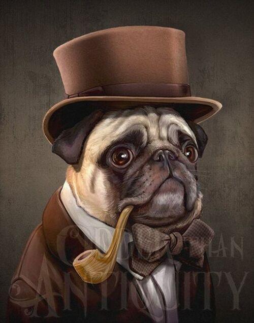 Mr. Farnsworth Pug Gentleman Victorian Steampunk Top Hat Pipe Original Illustration Costumed Portrai