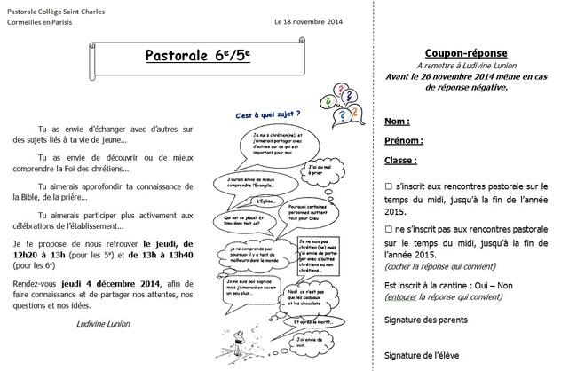 Invitations pastorale 6-5ème et 4-3ème