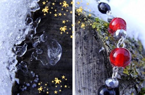 Jour de neige... collier en perles de verre noires et rouges