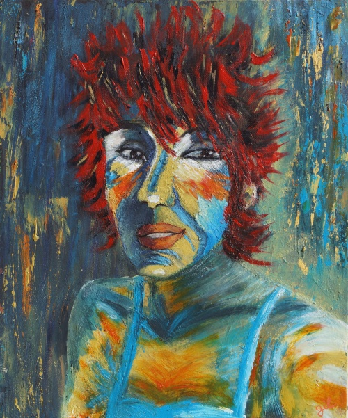 284. Autoportrait. Acrylique sur toile de 0,55 x 0,46. Octobre 2012.