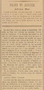 Palais de Justice, Affaire Dor (Le bruxellois, 11 mai 1917)