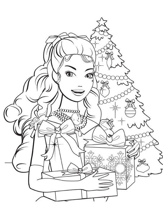 Coloriages Barbie: Noël   Barbie Planet