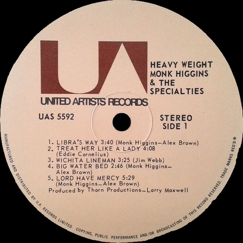 "Monk Higgins & The Specialties : Album "" Heavyweight "" United Artists Records UAS 5592 [ US ]"