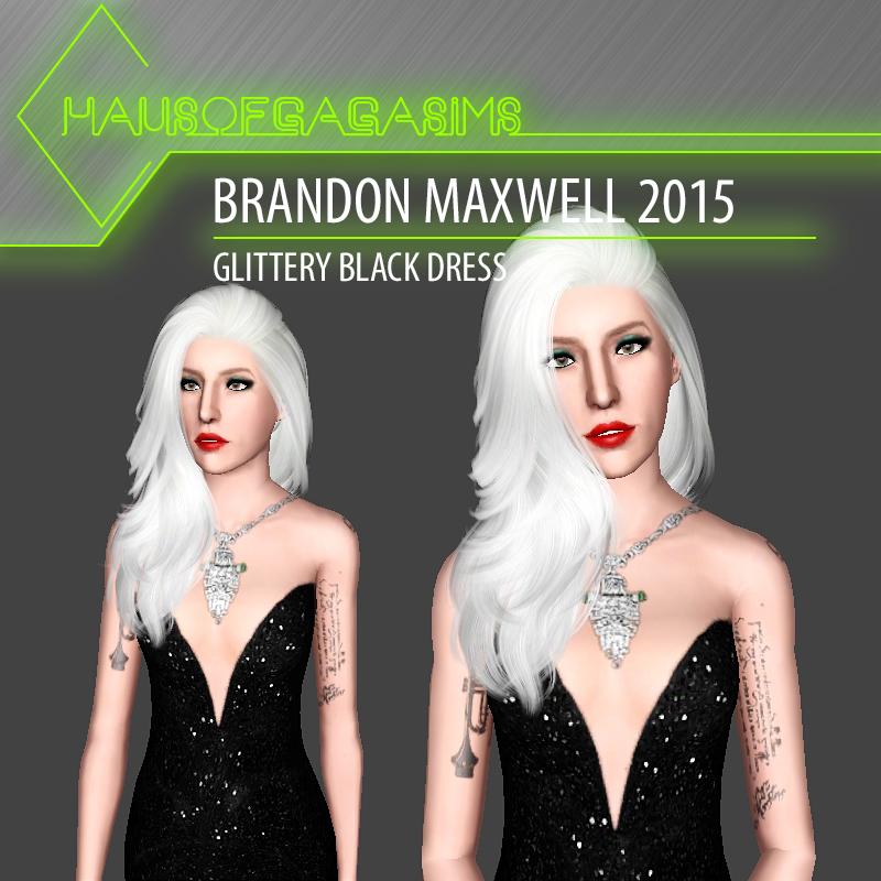 BRANDON MAXWELL 2015 GLITTERY BLACK DRESS