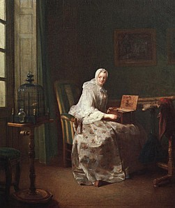 Jean Simeon Chardin 1753 XX Lady with a Bird Organ