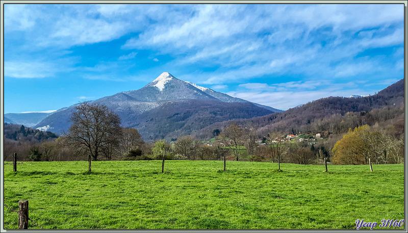Le Cagire enneigé (1911 m) ce matin 27/03/2020, vu de la route entre Aspet et Milhas - 31