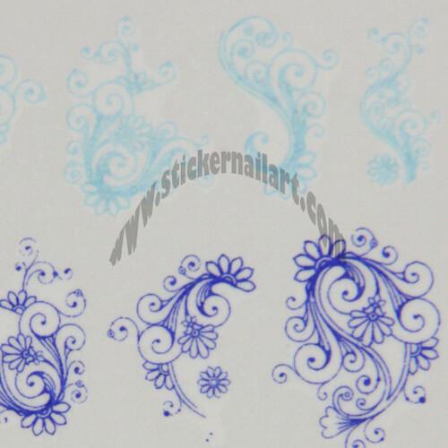 Water decal fleur bleu