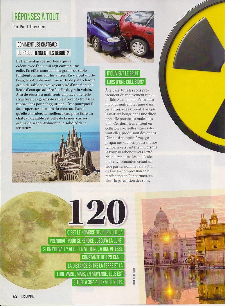 Réponses à Tout:  Comment les châteaux de sable tiennent-ils debout?  et autres petits articles (2 pages)