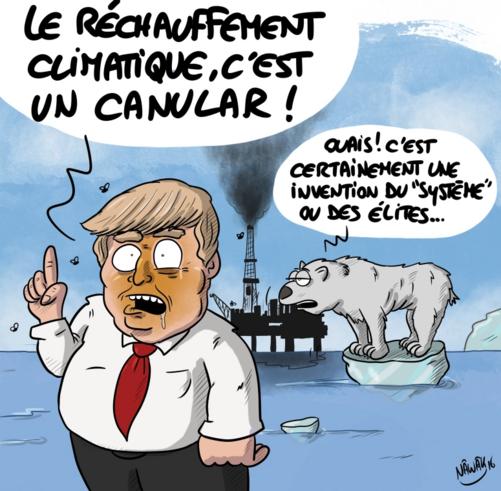 Trump croqué par Nawak en 2016 après ses déclarations fracassantes sur le climat.