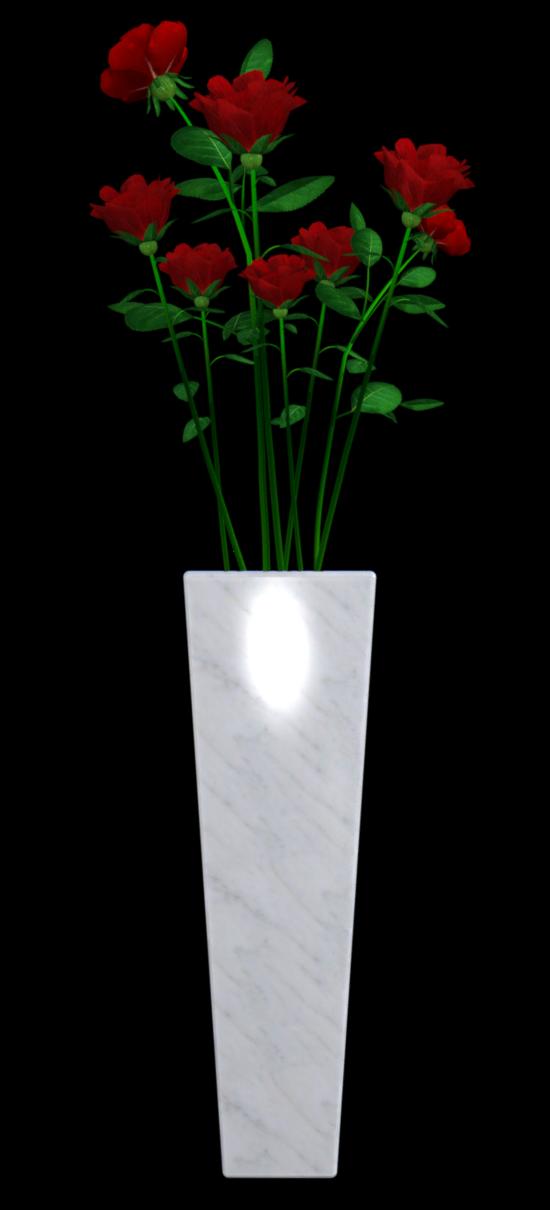 Tube de roses dans un vase (render-image)