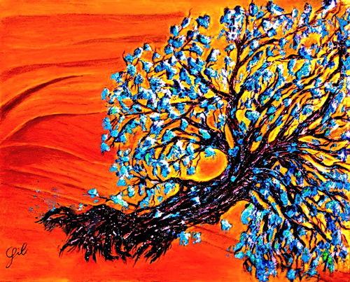 193 L'arbre penché. acrylique sur toile 80x100. octobre 2015. Voir également le regard de Laurent sur la toile