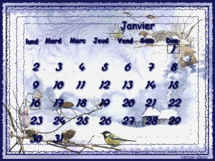 calendriers janvier 217 pour le défi de sissi