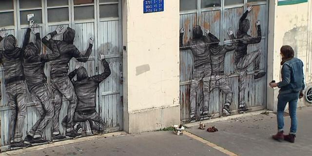 Une oeuvre de Levalet dans les rues de Reims