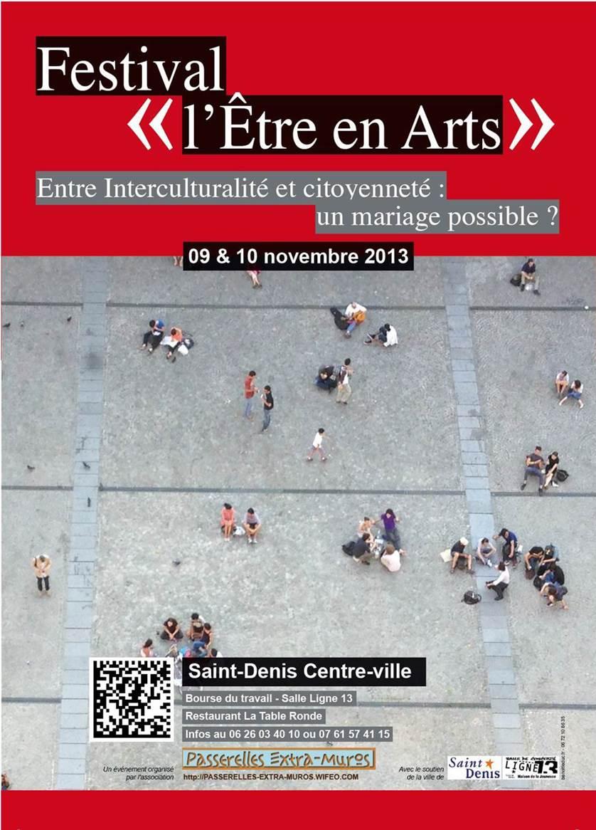 """""""FESTIVAL L'ÊTRE EN ARTS""""  avec Passerelles Extra-Muros du 9 au 10 novembre à Saint-Denis"""