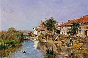 Barbizon -Edmond-Marie-Petitjean-lavandieres-au-bord-de-riv