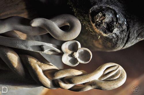 Manche de cuillères - Sculpture sur bois vert