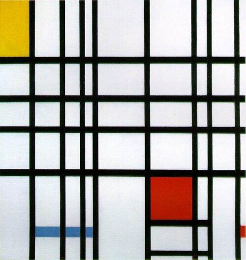 Mondrian : composition avec rouge, jaune et bleu