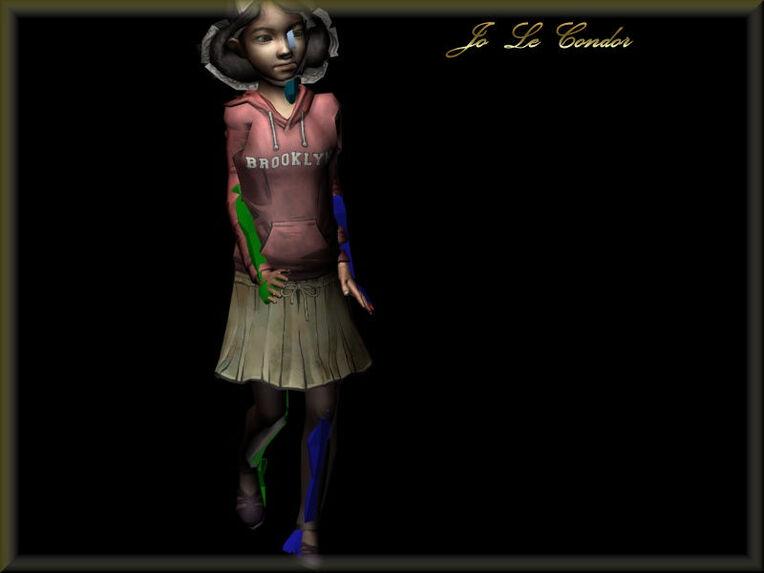 Clémentine en 3d avec son squelette en partie visible puis en mode hide invisible.