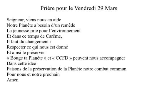 Prière du 29 mars