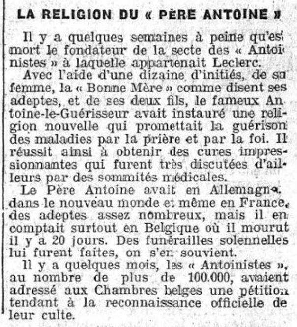 """La religion du """"Père Antoine"""" (Le Petit Journal 21 juillet 1912)"""