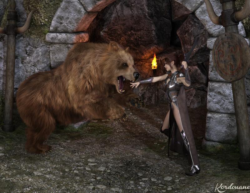 Fond d'écran : L'antre de l'ours (DazStudio)