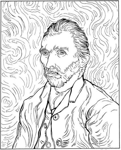 Self-portrait, 1889  -  colour your Van Gogh: