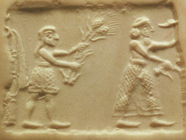 Offrande de récoltes par un prêtre ou un roi (sceau-cylindre de Mésopotamie, vers 3500 av. J.-C.)