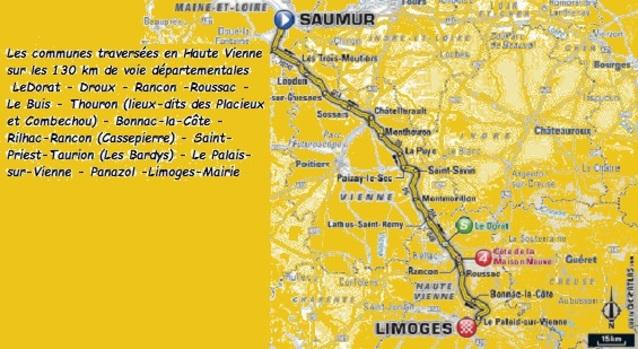 Tour de France  SAUMUR - LIMOGES, l'étape la plus longue de l'épreuve 237,5 km