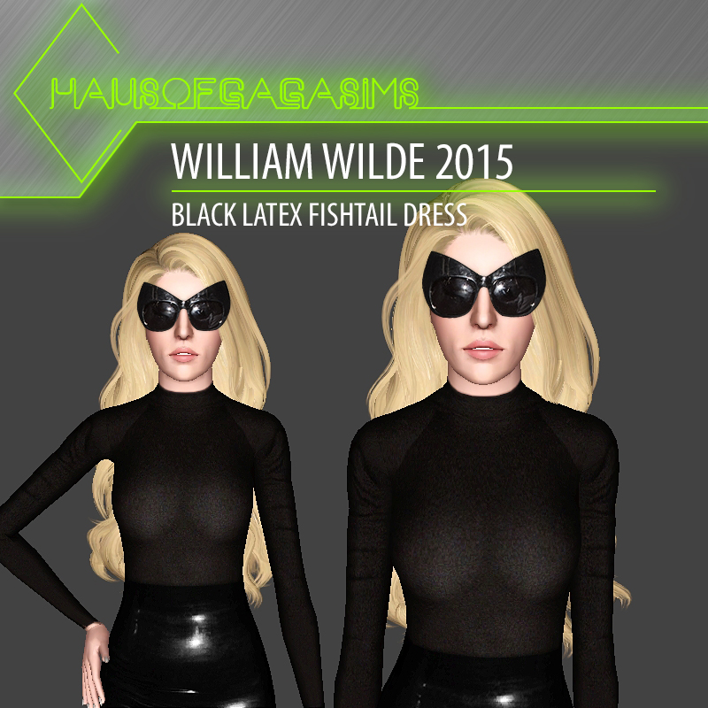 WILLIAM WILDE 2015 BLACK LATEX FISHTAIL DRESS