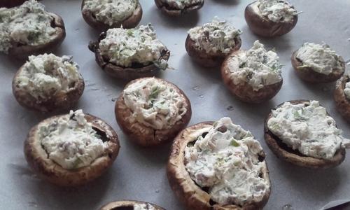 Calendrier de l'avent #4 Champignon farcis au cream cheese {Vegan}