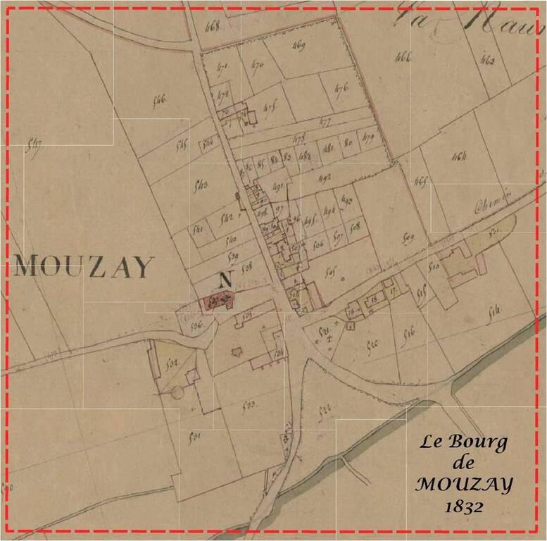 Extrait du Plan Napoléonien pour le Bourg de Mouzay en 1832