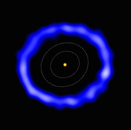 Une vue d'artiste du disque de débris contenant des molécules de CO vu par Alma autour de l'étoile HD 181327.