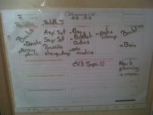 mon semainier, la liste des objets a réparer, le menu de la semaine, mon planning linge, inventaire placards et frigo