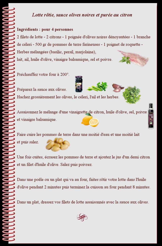 Lotte rotie sauce olives noires et purée au citron
