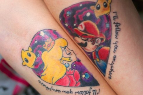 tatouage couple Super Mario et Princess Peach