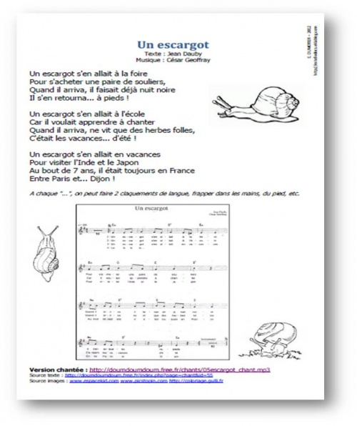 GS - CP - Un escargot, de Jean Dauby et César Geoffray