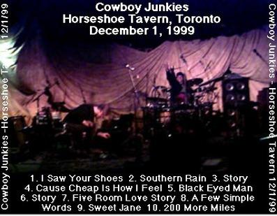 En v'là du live! Le retour de la revanche : Cowboys Junkies - Toronto - 1er décembre 1999